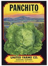 PANCHITO Vintage Guadalupe Lettuce Crate Label, Scenic Valley, AN ORIGINAL LABEL