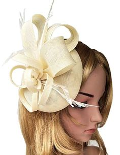 84f8cf11a35e3 Women s Fascinator Hat Imitation Sinamay Feather Tea Party Pillbox Flower  Derby (Beige)