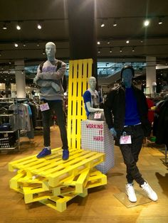 Pallets and mannequins display in Selfridges, Trafford Centre, May 2015 - Bahar Ceyhan- Fashion Retail Interior, Clothing Store Interior, Clothing Store Displays, Store Window Displays, Shoe Store Design, Retail Store Design, Denim Display, Pallet Display, Visual Merchandising Displays