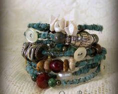 Boho Gypsy  Bangle Bracelet Stack Wire Wrapped Bracelets