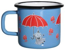 Blue enamel mug featuring Little My in red coloring. Brighten your coffee- and teamoments with this mug. Muurla combines design with durability in this retro Moomin enamel mug. Moomin Shop, Moomin Mugs, Little My, Little Ones, Best Camping Gear, Lassi, Give It To Me, Enamel, Porcelain