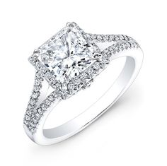 NK28085-18W  18K WHITE GOLD SPLIT SHANK PRINCESS CUT HALO DIAMOND ENGAGEMENT RING  A gorgeous diamond halo of brilliant round white diamonds surround a 1ct. center mounting that sits on a prong set diamond encrusted split shank in this beautiful diamond engagement ring.