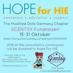The Modified Dolls Germany Chapter`s #Scentsy consultant, Toni, will be donating 20% commission to our October charity of the month, Hope for HIE Foundation - Hypoxic Ischemic Encephalopathy. To place an order, visit: https://toniporter.scentsy.us/?partyid=316934338 #ModifiedDolls #Germany #BuildingChapter #fundraising #HIE