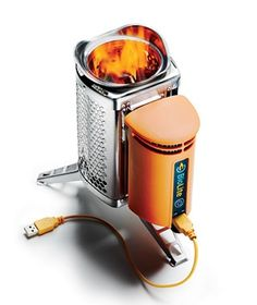 Approximately the size of a water bottle, the BioLite CampStove weighs only two pounds and can boil water in 4 minutes. It can also charge your phone.