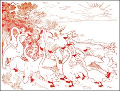 The Wild Swans -- Frederick Richardson -- Fairytale Illustration