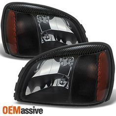 Fits 00-05 Cadillac Deville Black Crystal Headlights Lights Lamps LeftRight Set