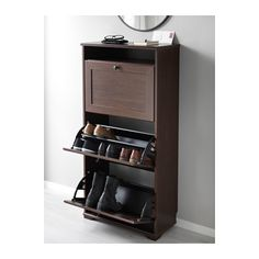 BRUSALI Shoe cabinet with 3 compartments - brown - IKEA