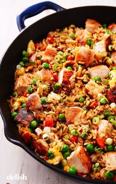 Chicken Fried Rice - Recipes to Cook - Essen Rice Recipes, Asian Recipes, Chicken Recipes, Cooking Recipes, Healthy Recipes, Fast Recipes, Cooking Tips, Diet Food To Lose Weight, Weight Loss Meals