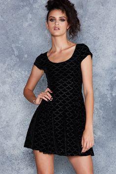 Burned Velvet Mermaid Evil Cheerleader Dress - LIMITED ($120AUD) by BlackMilk Clothing