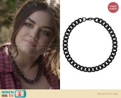 Aria's black chain necklace on Pretty Little Liars. Outfit Details: http://wornontv.net/27949 #PLL #fashion