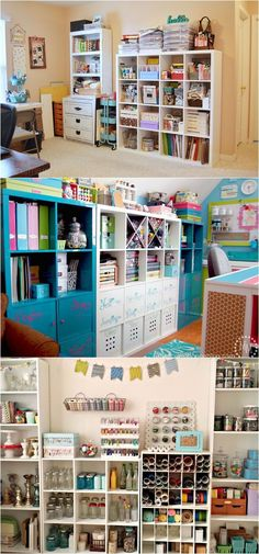 I want a craft room! 21 great ways to completely organize your workshop or craft room: how to best utilize pegboards, shelving, closet and wall spaces, and much more! - A Piece Of Rainbow Craft Room Storage, Craft Organization, Craft Rooms, Vinyl Storage, Craft Room Shelves, Wall Shelves, Closet Organisation, Craft Cabinet, Organizing Tips