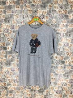 d7720202 POLO BEAR T shirt Medium Polo Ralph Lauren Vintage 90s Polo Sport Usa Bear  Play Basketball Nba Hip Hop Sportswear Gray Tee Tshirt Size M