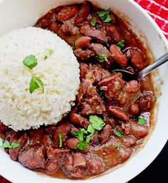 Classic cajun red beans and rice with all of the classic Southern creole flavors throughout. So delicious! So comforting! So soulful!