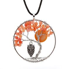 Stone Tree of Life Pendant on leather Necklace