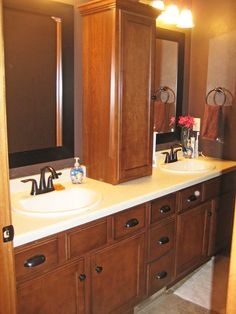 Double vanity bathroom! There is so much storage space here, it's great!