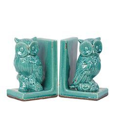 Turquoise Owl Bookend Set