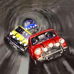 Italian Job Mini's on Canvas Multiple Sizes by UKArtDepot My favourite film ! Mini Cooper Sport, Red Mini Cooper, Mini Cooper Classic, Classic Mini, Classic Cars, Mini Coopers, Cooper Cars, The Italian Job, Minis