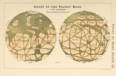 Plate 12. Chart of the planet Mars in two hemispheres. A popular handbook and…