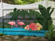 Backyard Beach, Tropical Backyard, Backyard Fences, Backyard Projects, Backyard Landscaping, Garden Fence Art, Garden Mural, Mural Wall Art, Mural Painting