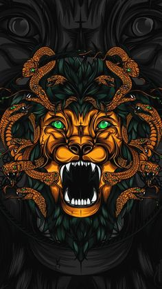 Animated picture of Lion's head and Snakes on this article can be an alternative to give a badass touch into your smartphone. It's featured with dark background wallpaper with an illust… Graphic Design Illustration, Illustration Art, Dark Background Wallpaper, Arte Dope, Snake Art, Graffiti Wallpaper, Lion Pictures, Dope Wallpapers, Samurai Art