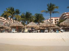 Looking up from the ocean onto the beach in Aruba.  Playa Linda in the background