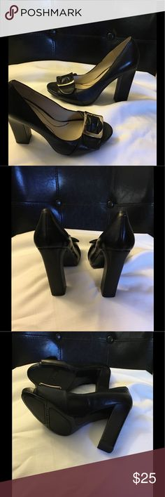 New Nine West Black Leather Shoes Sz 5.5 Attractive Nine West Black Leather Shoes with Silver Buckle Sz 5.5.  New never worn few minor slight scratches (if examining up closely) from stored in closet. Would not show up in pics. Does not take away from these beautiful shoes, but wanted to mention.price reflects Nine West Shoes Heels