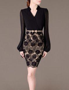 Puff Long Sleeve Dress Elegant Autumn Dress Feminine Black Chiffon Dresses Lace Decored Sexy V Neck Office Lady Sweet Girl XS F54