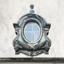 Oeil de boeuf zinc and wood window pediment salvaged for Miroir oeil de boeuf