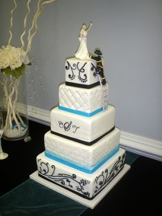 Elegant Firefighter Wedding Cake. I love this it's so cute!