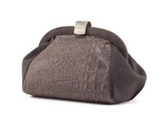 Grey Leather Purse / Croc Textured Clutch / by EllenRubenBagsShoes, $199.00