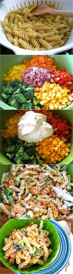 Ranch Pasta Salad 1 cup Greek yogurt (fat free is great!) ¼ cup Miracle Whip (fat free/reduced fat is great!) 1 packet (+ additional depending on your taste) ranch dressing mix 1 lb pasta, cooked 2 large carrots 1½ cups broccoli 1 cup ham 1 cup cheese ½ yellow bell pepper ½ red bell pepper