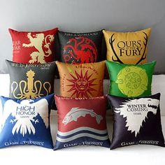Juego De Tronos Casa símbolos Casa Decorativo Plana Almohada Funda Almohadones Cubierta Nueva in Home, Furniture & DIY, Home Decor, Cushions   eBay