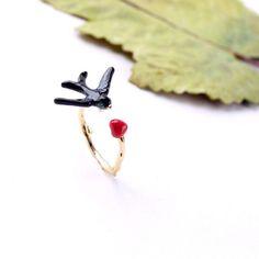 3x Host Pickcute Bird&Heart Adjustable Ring