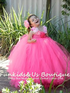 Hot Pink flowergirl tutu dress Extra Full by FunkidsandUsBoutique