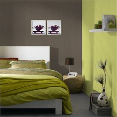 chambre nature - Chambre Taupe Et Vert