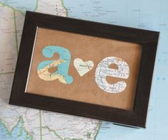 Valentine Gift for Him First Anniversary Gift For Him Map Gift Initials Framed