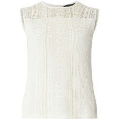 Dorothy Perkins Ivory mixed lace shell Top ($26) ❤ liked on Polyvore featuring tops, white, lace tank, white lace tank top, white jersey, sleeveless tank and white sleeveless top