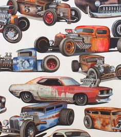 Alexander Henry Cotton Fabric Fabric-Rat Rods Natural