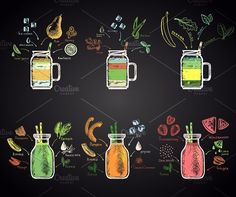 Set of colored chalk drawn illustrations of different smoothies in a bottle with ingredients: tropical green smoothie, watermelon, kiwi-lime, pumpkin, aloe Smoothie Bar, Smoothies, Juice Bar Menu, Juice Cafe, Chalk Menu, Chalkboard Art, Juice Bar Interior, Menue Design, Juice Bar Design