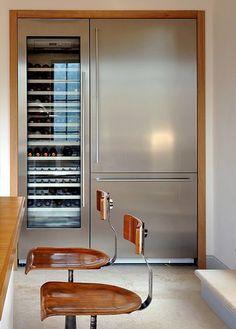 Fridge with integral wine fridge Kitchen Interior, Kitchen Decor, Kitchen Design, Kitchen Stools, Design Bathroom, Chalet Design, House Design, Cocinas Kitchen, Interior Design Awards