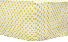 Yellow Polka Dot Crib Sheet  Sunnyside Up by NewArrivalsInc