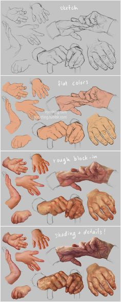 Hand Study 3 - Young and Old - Steps by irysching on deviantART