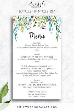 Printable-Editable PDF Wedding Menu Card- with elegant watercolor leaves elements by Amistyle Digital Art on Etsy