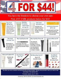 4th of July Sale ideas http://www. marykay.com//elizabethfuran or email me at 90 in30ef@gmail.com or text me at 609-540-6141