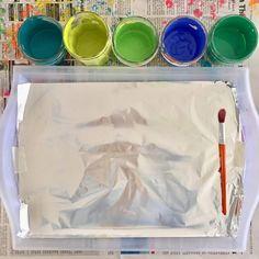 tempura paint on tin foil 🎨