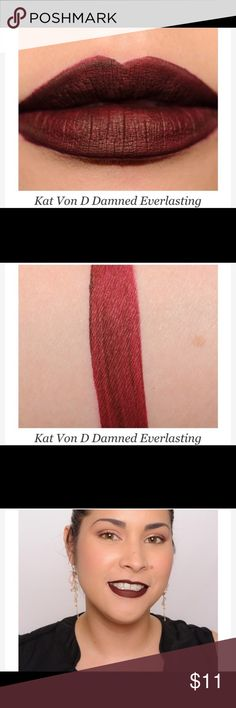 Kat Von D DAMNED Everlasting Liquid Lipstick NEW Kat Von D DAMNED Everlasting Liquid Lipstick. Brand new in box. Never opened. 100% Authentic GAUREENTEED. No trades and PRICE IS FIRM. You will however get a bundle discount of 10% if you buy 2 or more items in my closet. Kat Von D Makeup Lipstick