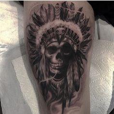 Rad piece by @ryanmullinsart #inkedmag #freshlyinked #inked #ink #art #tattoo #tattoos #skull #chief