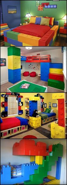 Lego Themed Bedroom Ideas  Is there someone in your life wedded to Lego? Then why not give them a Lego themed bedroom? Start small and build up as your skills and imagination grow!  Most of these projects are very easy and can be finished in just a day or two! Get inspired by clicking through to to our Lego bedroom post! Lego Theme Bedroom, Boys Lego Bedroom, Boys Bedroom Colors, Theme Bedrooms, Themed Rooms, Boy Room, Playroom, Girls Bedroom, Room Baby