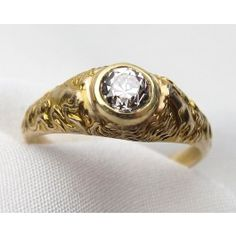 Shop Circa 1930's Art Deco Old European Cut Diamond 14-18KT Yellow Gold Engagement Ring. Available at isadoras.com.