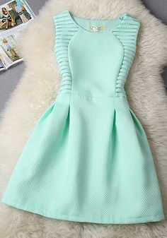 Blue Plain Lace High Waisted Sleeveless O-neck Slim Cute Fashion Midi Dress